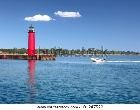 Lighthouse on Lake Michigan - stock photo