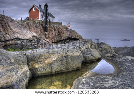 Lighthouse on the Baltic archipelago, Sweden - stock photo