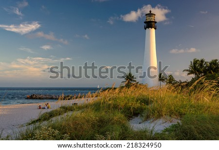Lighthouse on the Beach, Cape Florida Lighthouse, Bill Baggs Cape Florida State Park, Florida, USA - stock photo