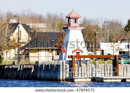 lighthouse on the Canadian border, Calais, Maine, USA - stock photo