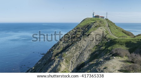 Lighthouse on the cliff of Cape Emine, Bulgaria by the Black Sea coast