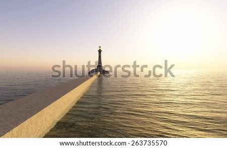 lighthouse on the coast and sunset reflected in water - stock photo