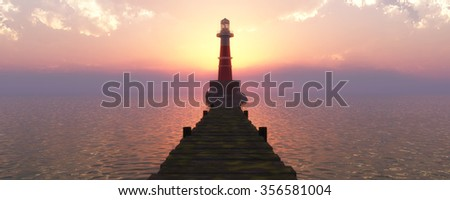 lighthouse on the coast and sunset reflected in water