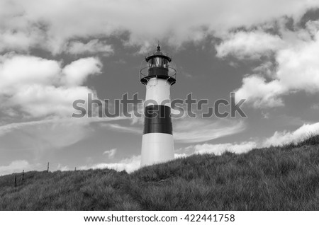 Lighthouse on the Dune, monochrome Lighthouse List East on a dune of  the island Sylt, Germany, North Sea