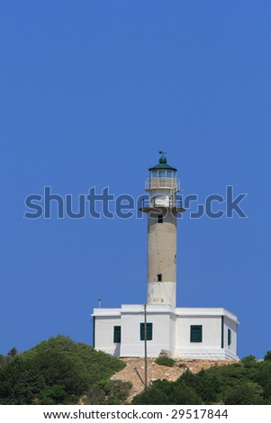Lighthouse on the Ionian island of Lefkas Greece