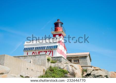 Lighthouse on the Lavezzi Island, Corsica France - stock photo