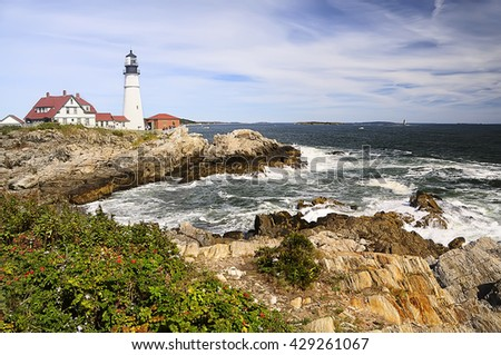 Lighthouse on the ocean, Portland. Maine United States