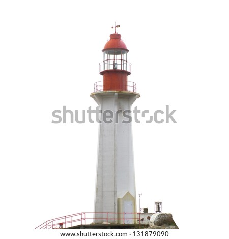 Lighthouse on the rock isolated on white - stock photo