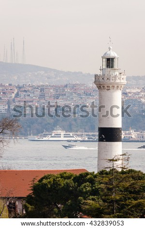 lighthouse on the shores of the Bosphorus, Istanbul, Turkey