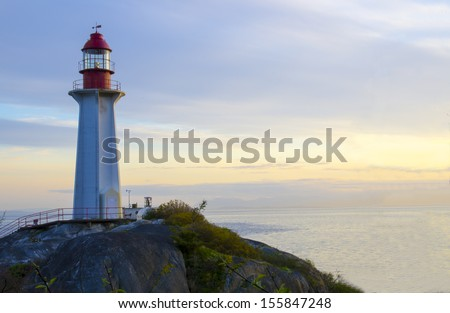 Lighthouse overlooking the Strait of Georgia and the Pacific Ocean. West Vancouver, British Columbia, Canada