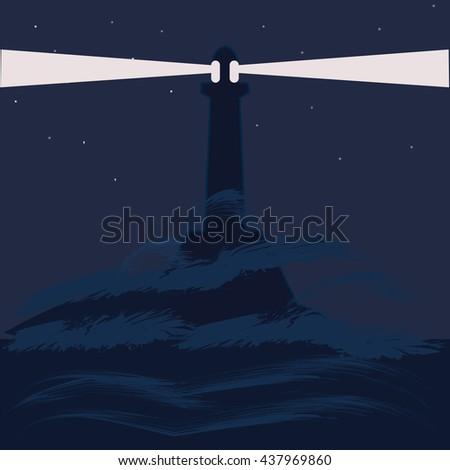 lighthouse sea night landscape abstract art illustration minimalism flat style   blue background bitmap image - stock photo