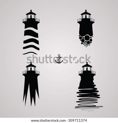 lighthouse set, lighthouse design - stock photo