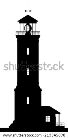Lighthouse. Silhouette of large lighthouse isolated on white background. Raster version of the illustration. - stock photo