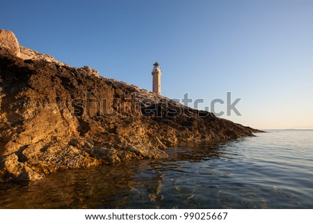 Lighthouse Stoncica on island Vis, Croatia