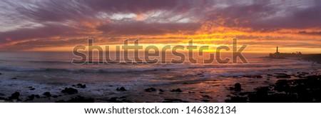 Lighthouse Sunset Panoramic - stock photo