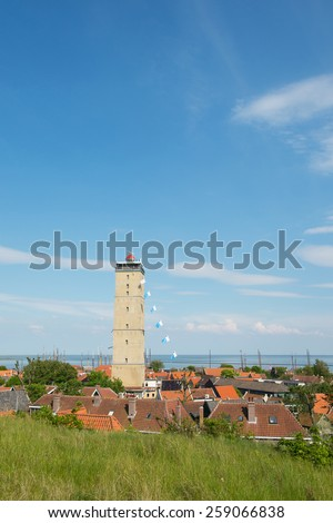 Lighthouse the Brandaris on Dutch wadden island Terschelling - stock photo
