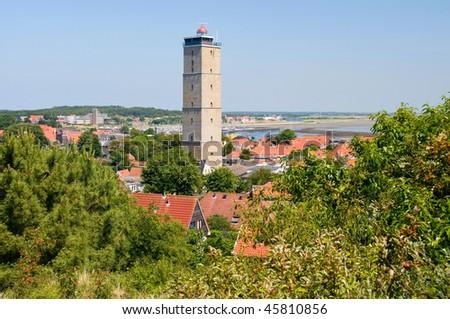 Lighthouse the Brandaris on the island of Terschelling, Holland - stock photo