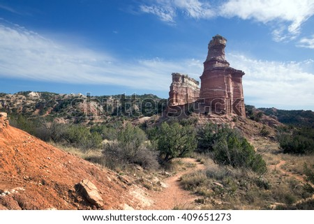 Lighthouse trail.  Palo Duro Canyon State Park, Texas, US