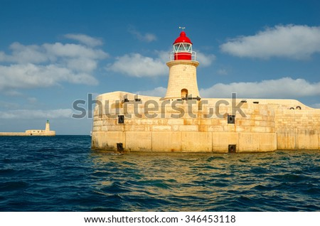 Lighthouse. Valletta, Malta. Yachting and Travel