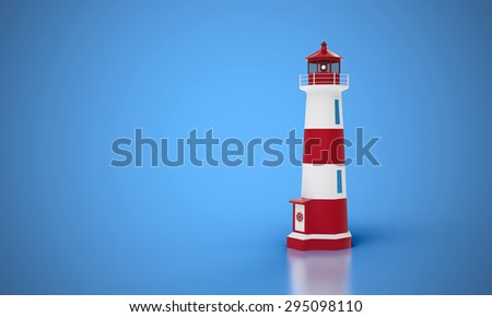 lighthouse with blue background