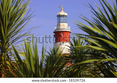 lighthouse with palms - stock photo