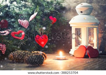 lighting candle tree - stock photo