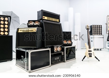 Lighting equipment and controls for clubs and concert halls.Selective focus - stock photo