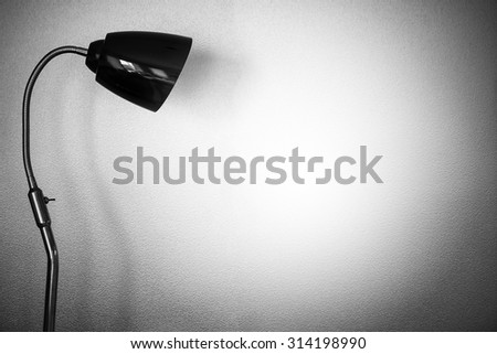 lighting from lamp with retro wall - stock photo