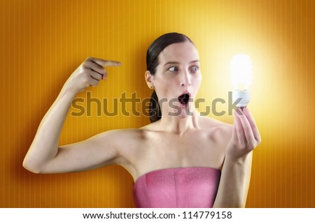 lighting girl - stock photo