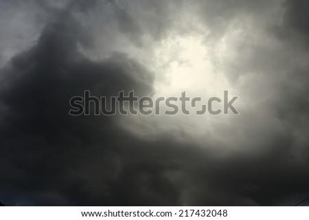 lighting in the dark sky thunderstorm clouds - stock photo