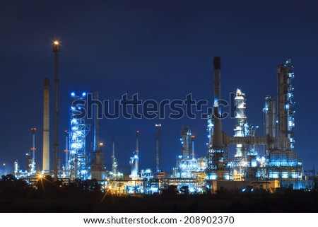 lighting landscape of oil refinery petrochemical in heavy industry estate use for power and energy topic - stock photo