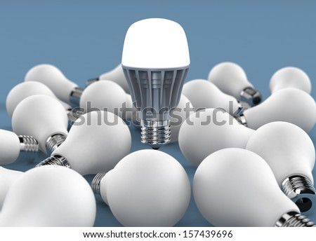 lighting LED bulb with several  incandescent light bulbs