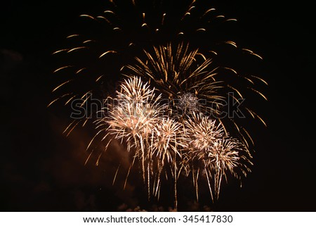 lighting of fireworks at night, International fireworks show In Pattaya, Thailand. - stock photo