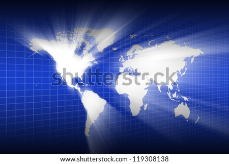 Lighting of the world map wallpaper