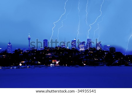 lighting over city skyline
