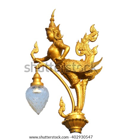 Lighting pole decorated with Thai kinaree mythology (half-woman and half-bird)