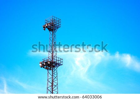 Lighting tower of an industrial area