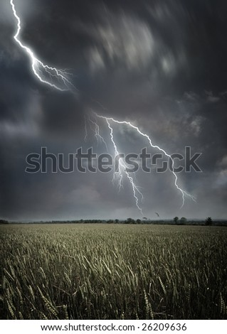 Lightning across the countryside.