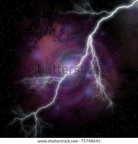 lightning against galaxy (fantastic kind of a nonexistent galaxy) - stock photo