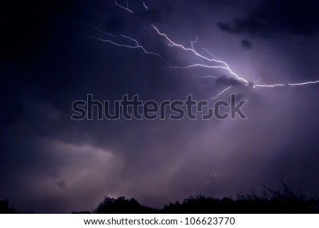 Lightning and Rain - stock photo
