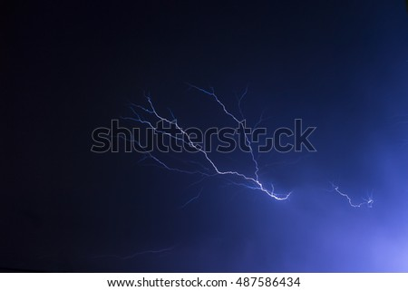 Lightning at night on a dark blue sky.