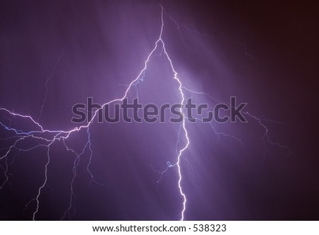 Lightning bolt in the raining sky