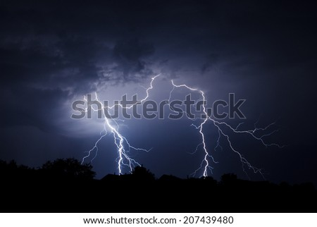 Lightning Bolt Strike - stock photo