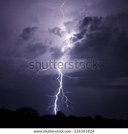 Lightning Bolt Strike - stock photo