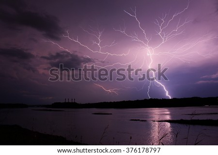 Lightning during a thunderstorm along the Susquehanna River