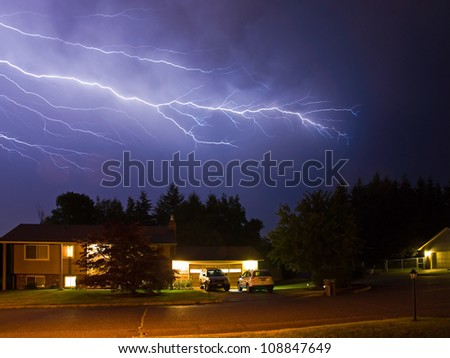 Lightning Flashes Across a Stormy Night Sky