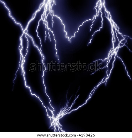 Lightning flashes in the shape of a heart - stock photo
