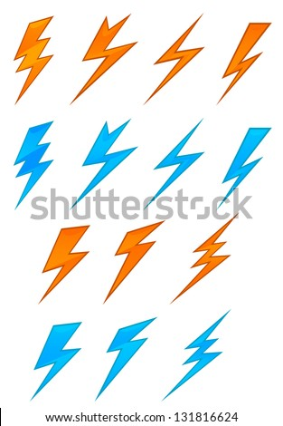Lightning icons and symbols set on white background. Vector version also available in gallery