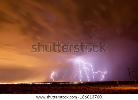Lightning in Albuquerque New Mexico at Night - stock photo