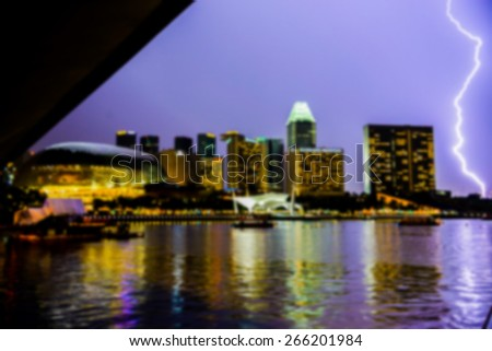 Lightning in city in Blur style - stock photo